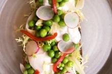 Tartine végétarienne aux petits pois frais, houmous de petits pois et burrata crémeuse.
