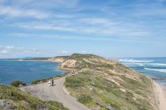 Le fameux point de vue de Point Nepean National Parc, avec la mer agitée d'un côté et protégée du vent de l'autre.