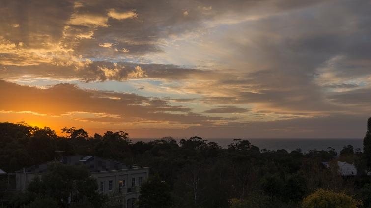Coucher de soleil sur Mount Eliza, vu depuis la maison dans laquelle j'ai séjourné.