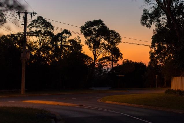 Coucher de soleil dans le village de Mount Eliza.