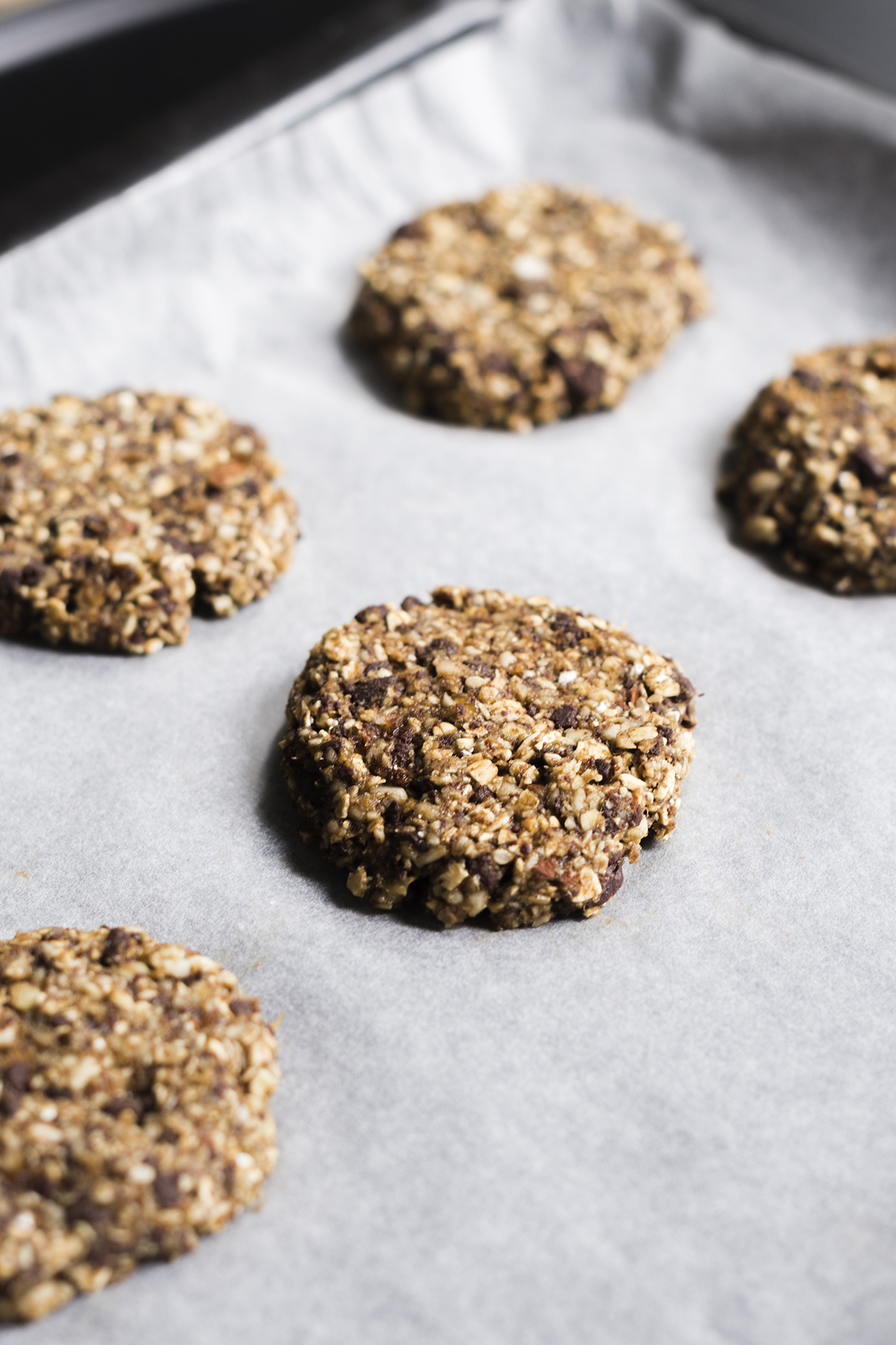 Zoom sur les granola cookies.