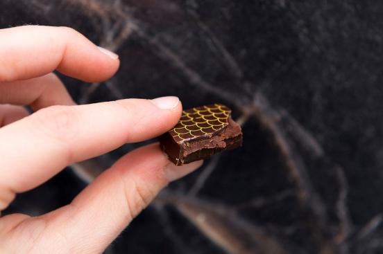 Dégustation du chocolat noir à la ganache au miel.