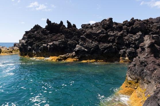 Contraste entre mer turquoise, mousse orangée et roches volcaniques noires.