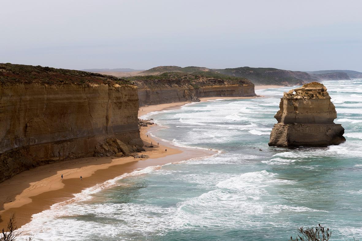 Photographies des falaises calcaires en Australie.