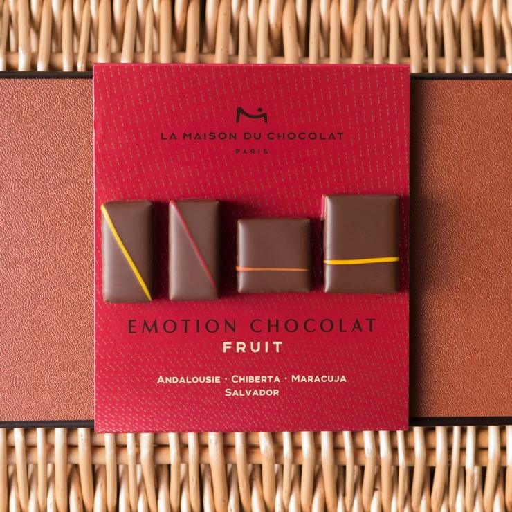 Coffret de chocolats de dégustation, vu du dessus.