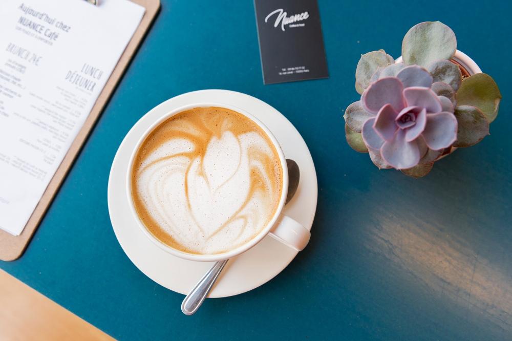 Photo du dessus d'un cappuccino végétal
