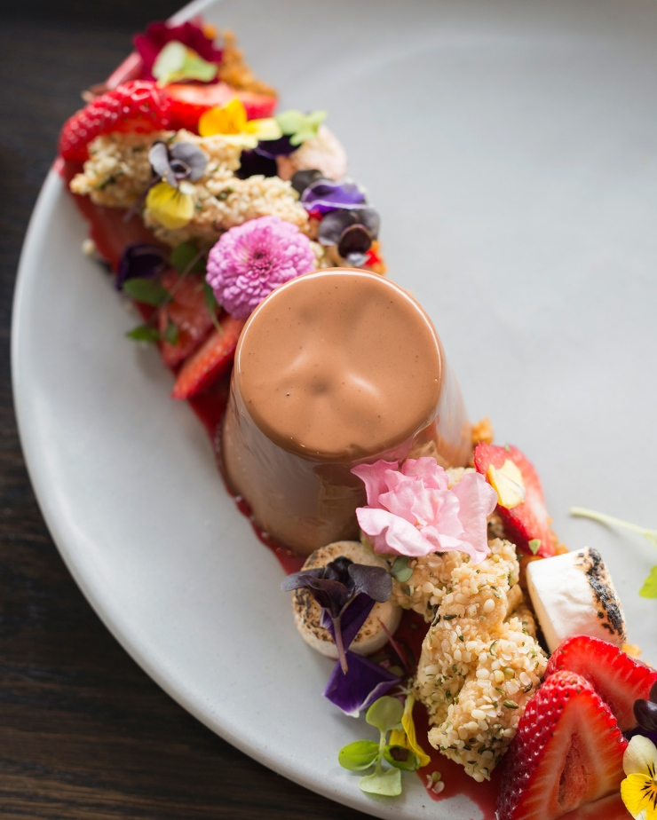 Photographie du dessus d'une panacotta au nutella avec des fleurs coméstibles et des fruits.