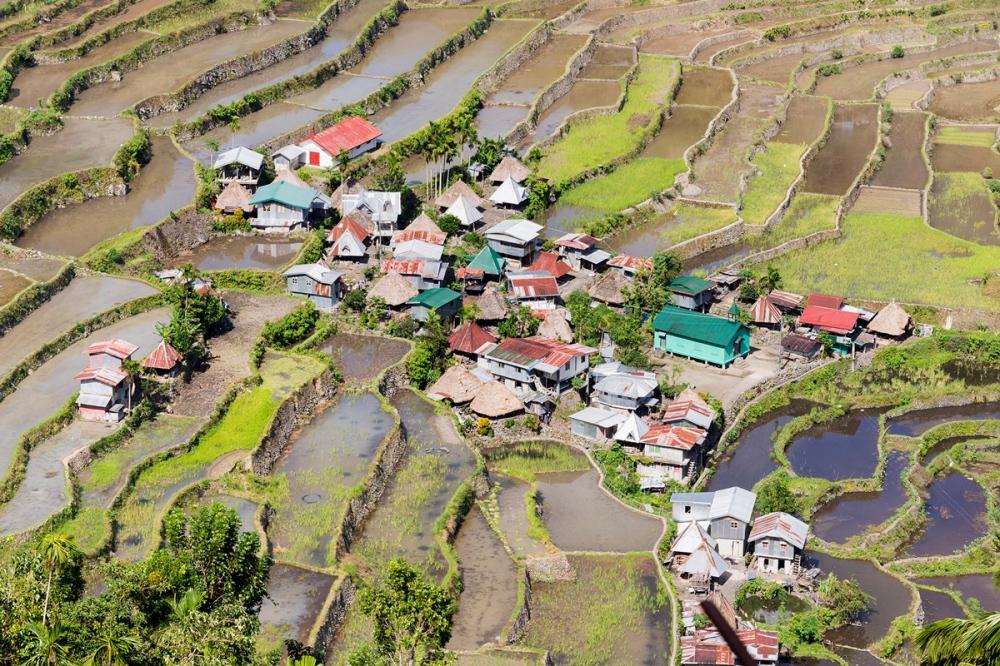 Photographie d'un village dans les rizières aux Philippines.