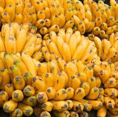 Bananes sur un étal de marché aux Philippines.