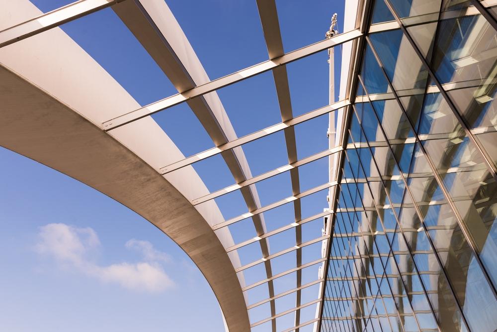 Photographie d'un détail de l'architecture du Sky Garden, le jardin suspendu à Londres.
