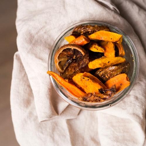 Version 2: aubergines, carottes, butternut, citron.