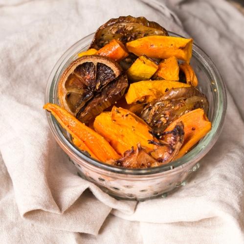Aubergines, carottes, butternut, citron.