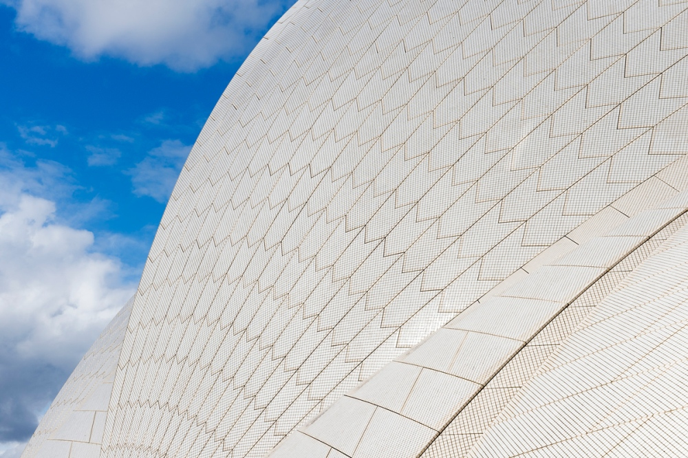 Photographie d'un détail du toit de l'Opéra de Sydney en Australie.