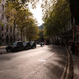Lumière d'automne dans les rues londoniennes.