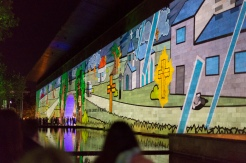 Projections de dessins animés sur les murs de la National Gallery lors de la White Night.