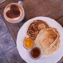 Trio de pancakes et confitures Mykalios.