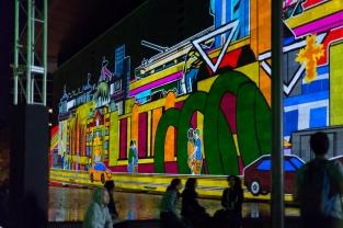 Projections de dessins animés sur les murs de la National Gallery lors de la White Night.