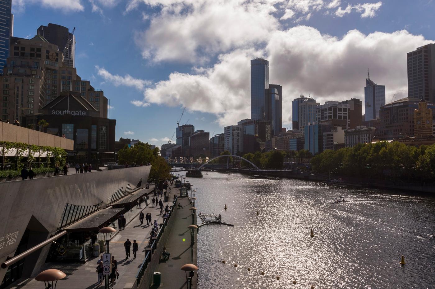 Vue de Melbourne et de la Yarra River.