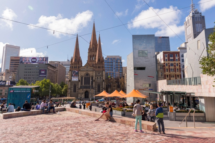 Fed Square et ses restaurants.