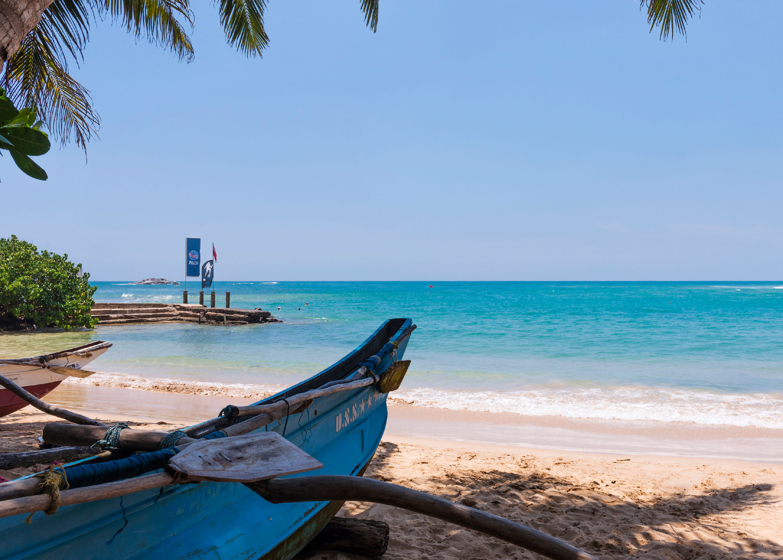 Photo d'une plage idyllique au Sri Lanka.