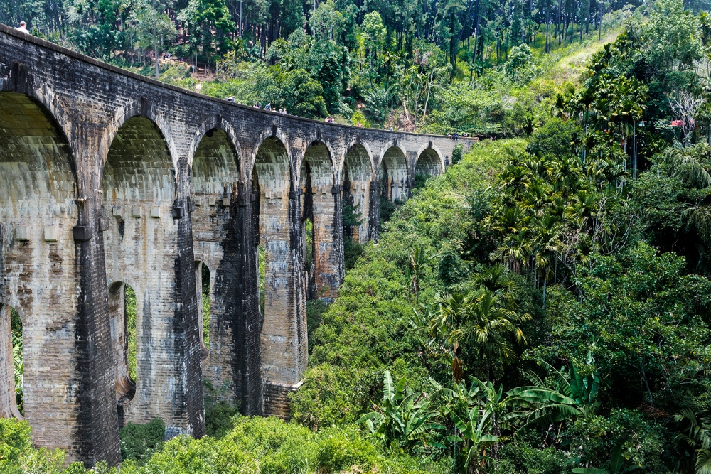 Photo d'un pont en pierres avec 9 arches dans la jungle.