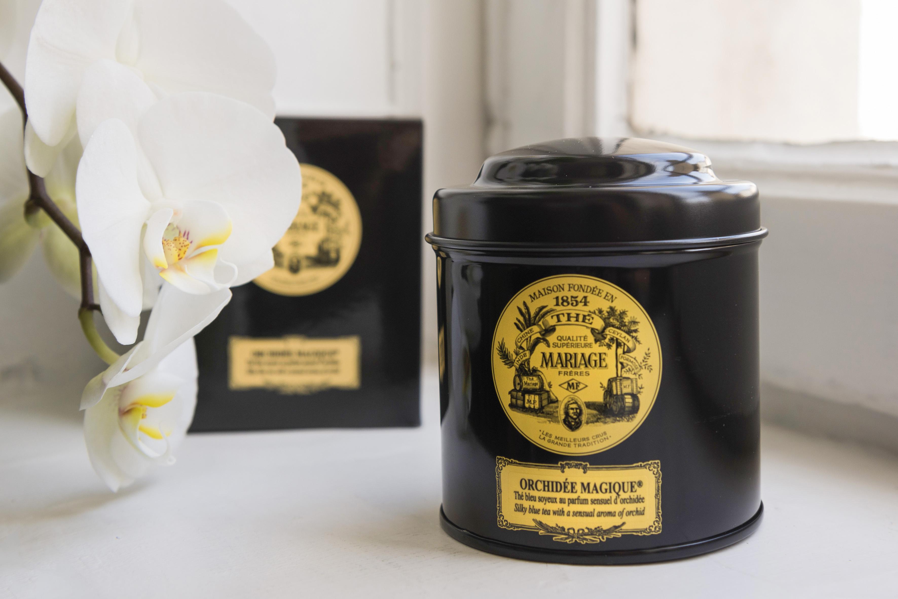 Photographie d'une boîte de thé Mariage Frères.